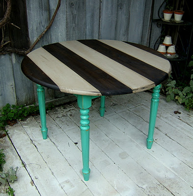 striped round table teal brown gray-21