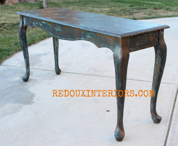 Copper Patina Table waxed redouxinteriors