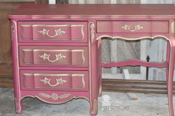 French Pink Desk Vintage Charm