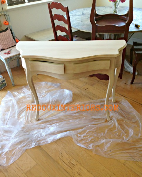 French Style entry table bare wood redouxinteriors