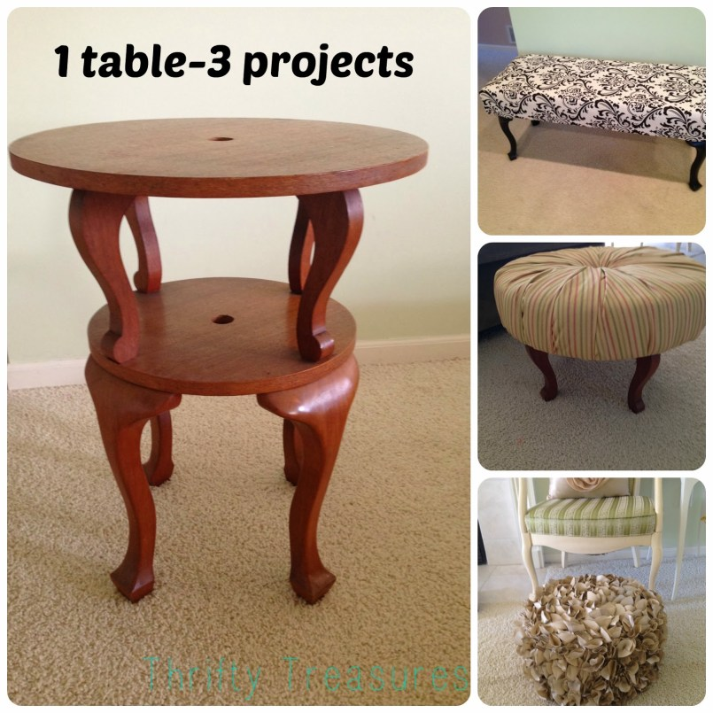 1 table 3 projects Thrifty Treasures