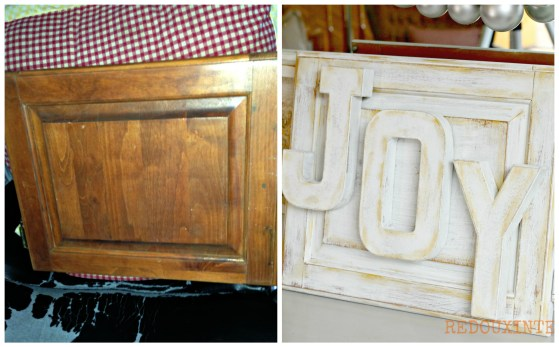 Joy Sign from Cabinet Door before and after Redouxinteriors