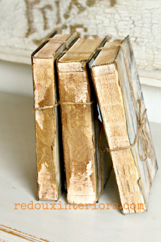 Antiqued books on side redouxinteriors