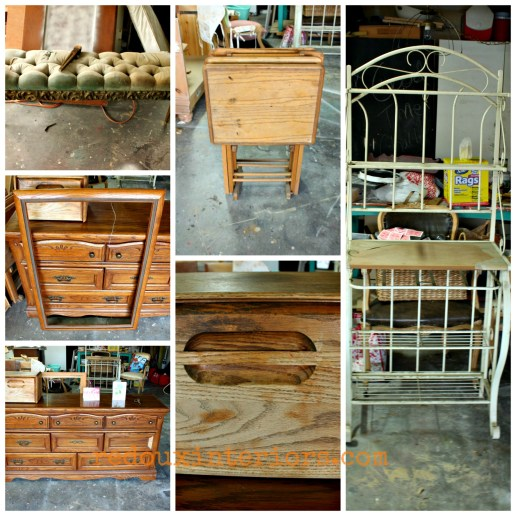 Collage of dressers bakers rack
