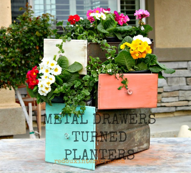 Metal drawers turned planters banner redouxinteriors