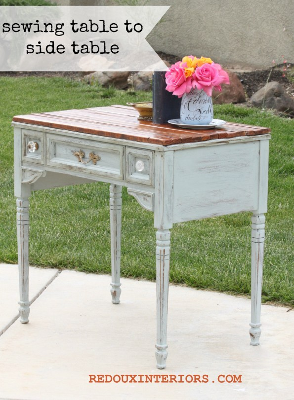 Sewing table to side table banner  redouxinteriors