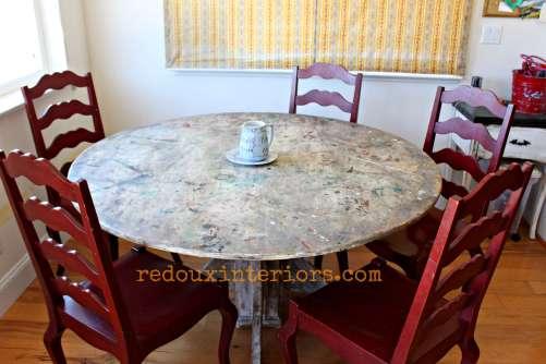 paintsplattered table redouxinteriors