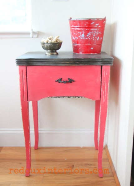 Sewing cabinet cece caldwells jersey tomato red redouxinteriors