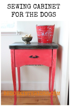 red sewing cabinet with dog treats cece caldwells jersey tomato redouxinteriors