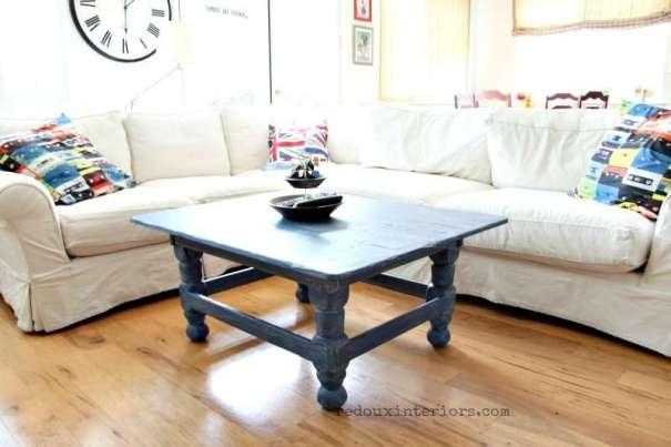 Denim painted Coffee Table cece caldwells redouxinteriors