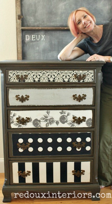 Dresser with fabric decopage with karen berg redouxinteriors