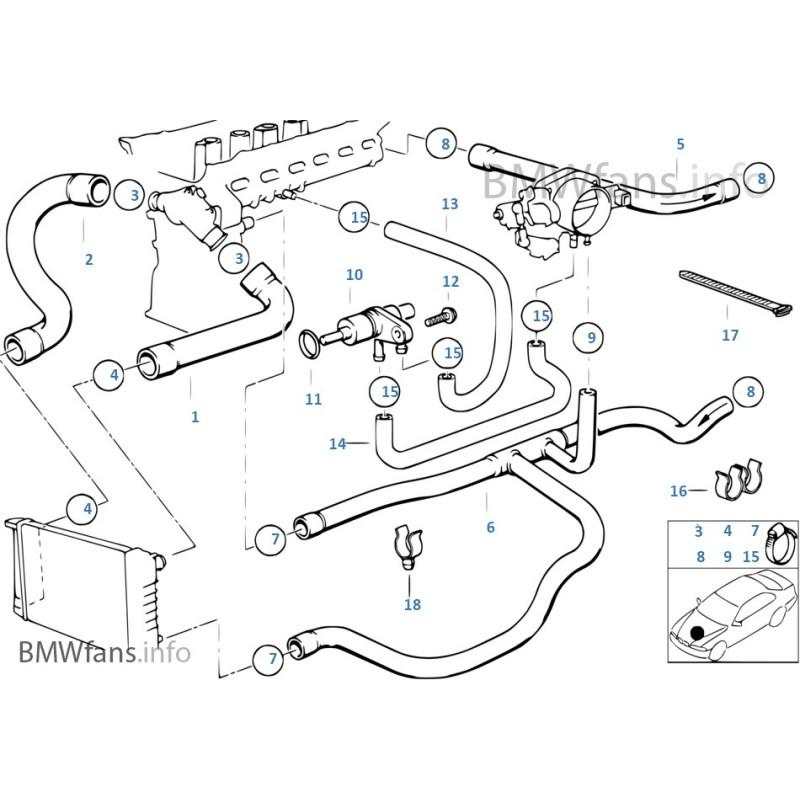 Silicone 9 Coolant Hoses REDOX BMW E36 325i M50B25