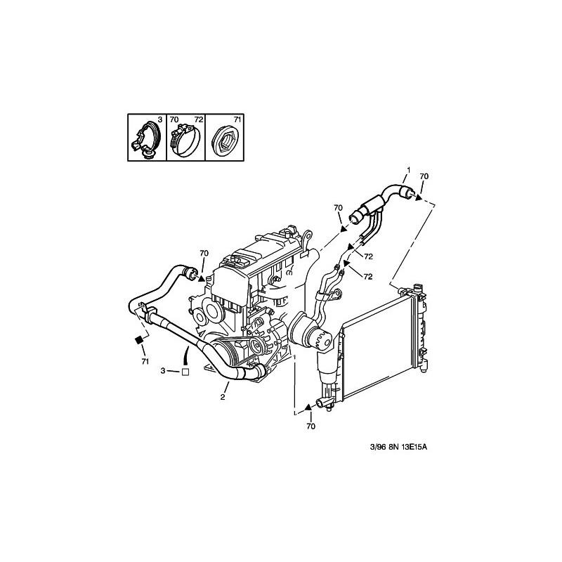 Kit 1 tubi modine silicone REDOX PEUGEOT 106 Rallye phase 1