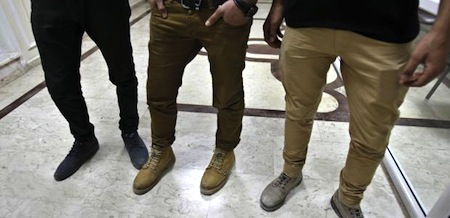 "These men's trousers are considered ""obscene"" by Hamas police – and worthy of punishment"