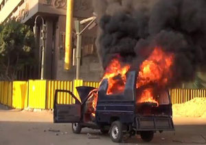 Burning Egyptian police car