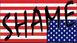 "US flag upside down overlaid with word ""shame"""