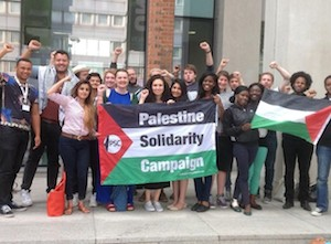 Members of the NUS National Executive Council shortly after they voted to support the Boycott, Divestment and Sanctions campaign against Israeli oppression of the Palestinians