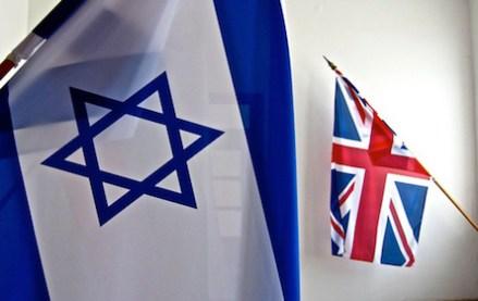 Israeli and UK flags