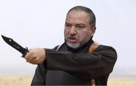 Avigdor Lieberman with knife