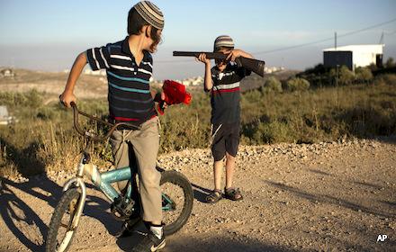 Jewish colonist boys play with guns
