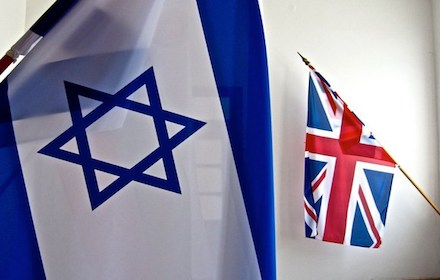 Israeli flag overshadowing UK Union Jack