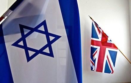 Israeli flag overshadowing UK Union Jack