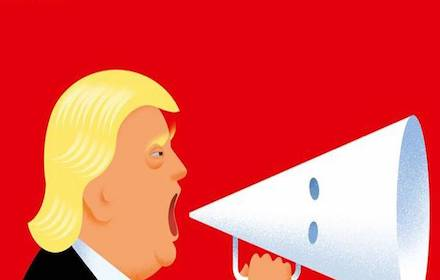 Trump with megaphone