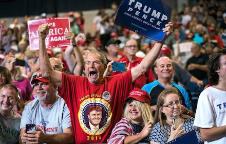 Trump supporters in Virginia, USA, Aug 2017