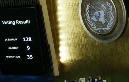 UN General Assembly voting result on Jerusalem