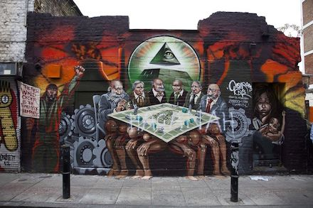Kalen Ockerman mural depicting, from left to right, Rothschild, Rockefeller, Morgan, Aleister Crowley, Carnegie and Warburg
