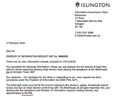 Islington Council Freedom of Information reply