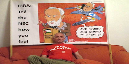 LAZIR chair Peter Gregson with the banner in happier days before it was attacked by Zionist thugs.