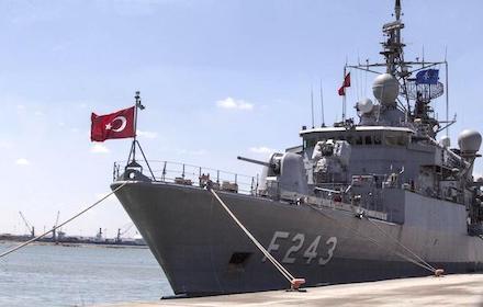 Turkish frigate in Tripoli