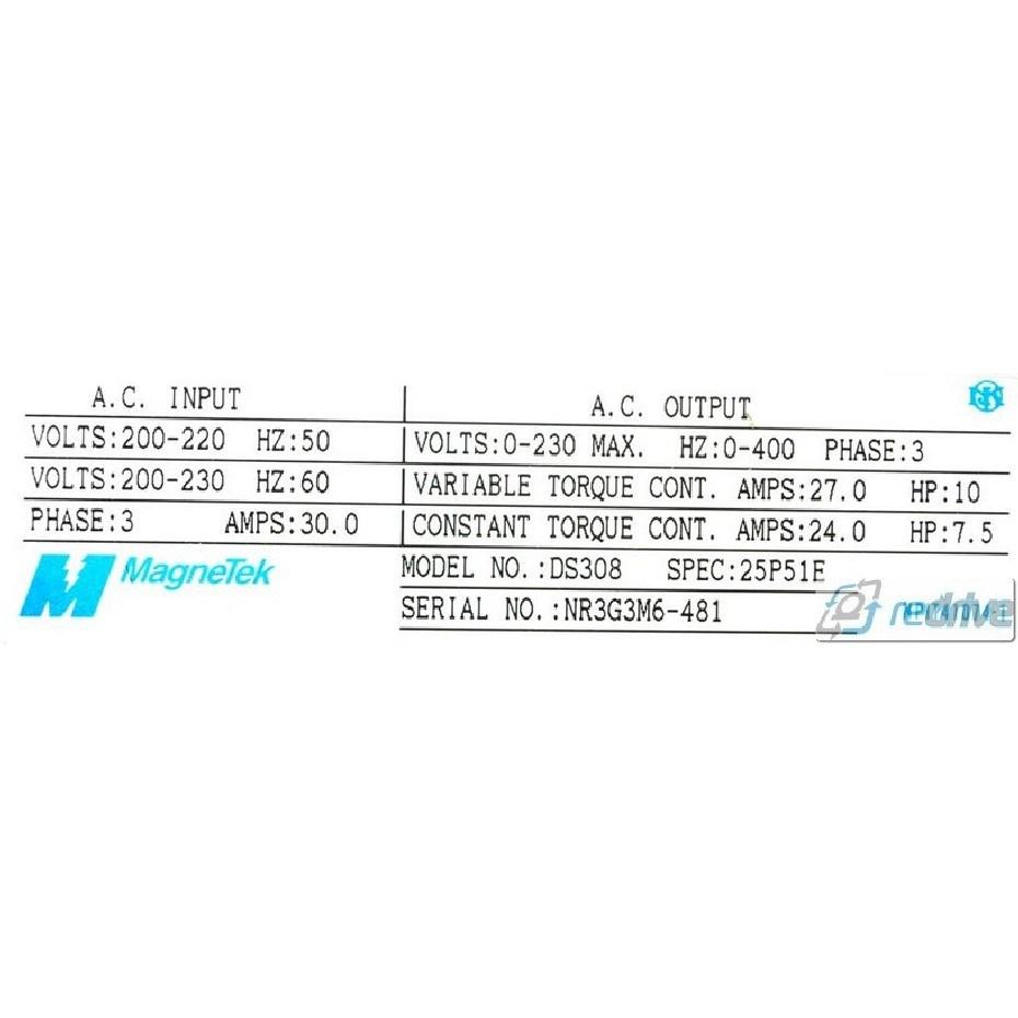 GPD503-DS308 Magnetek / Yaskawa CIMR-G3U25P5 7.5HP 230V AC