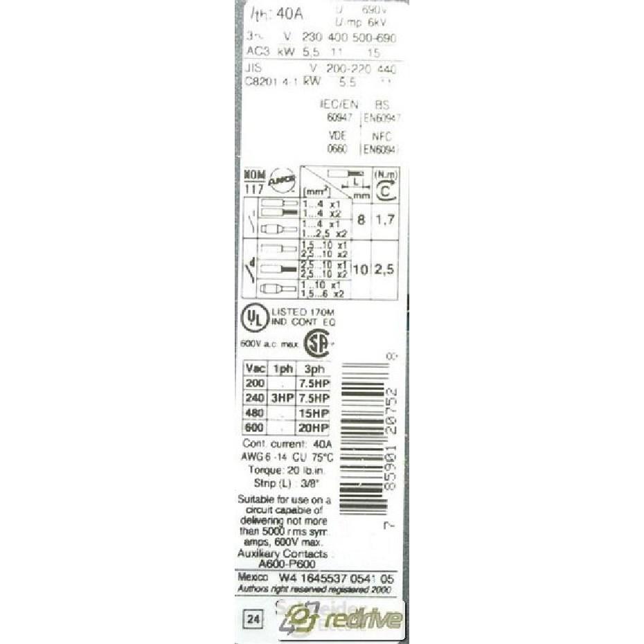 LC2D25G7 Schneider Electric Contactor Reversing 3-pole 40A
