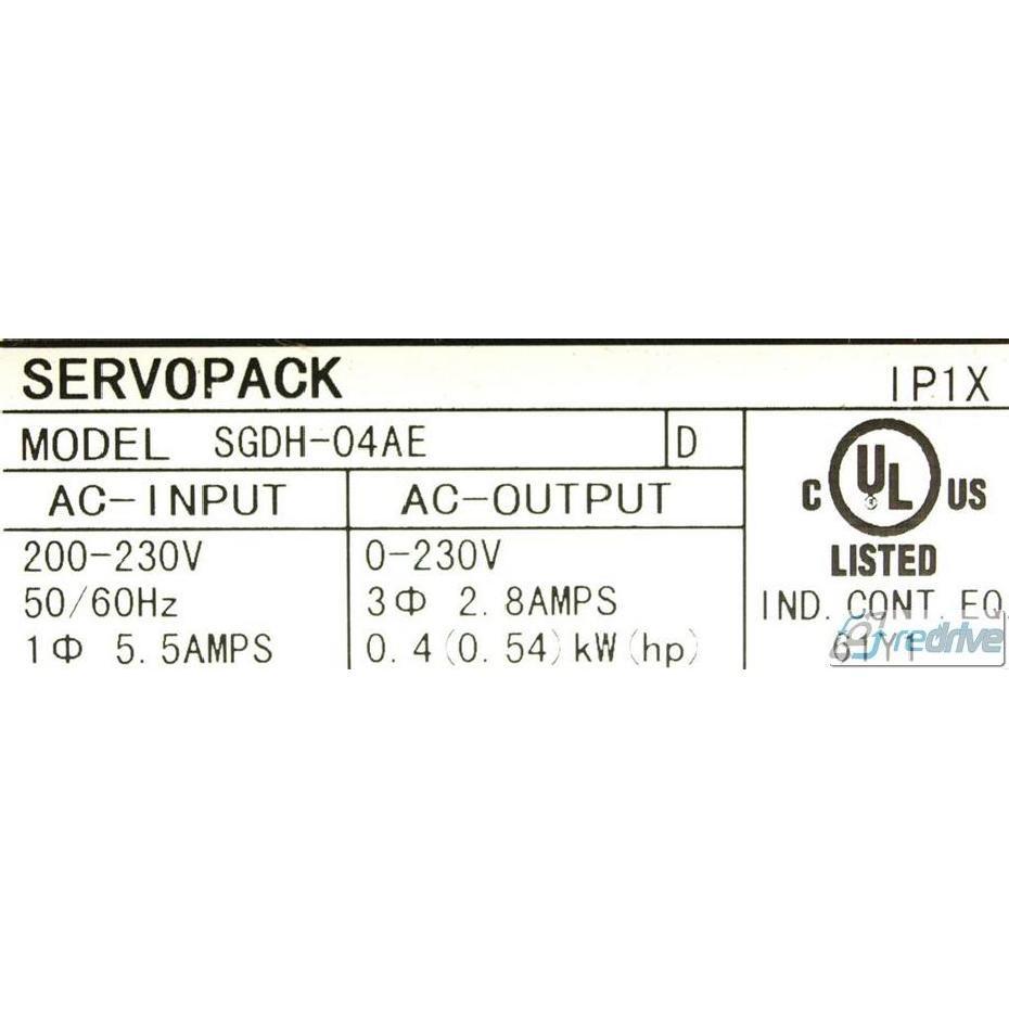 SGDH-04AE Yaskawa AC ServoPack SIGMA 2 AMP 200V 1PH 400W