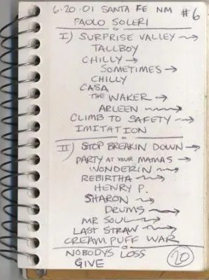 An example of one of the band's set list (Photo courtesy of Glide Magazine)