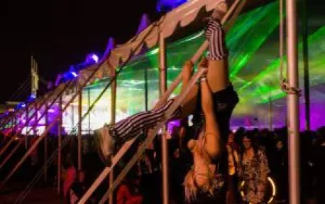 Hanging from the tents at Freaky Deaky 2015. Photo by: Rtyan Blair - Festivalforecast.com