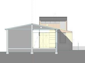 Cross section through the existing bedroom, showing the new joinery wall. The new addition can be seen in elevation with the roof lifted up above the existing roof line to capture the sun.