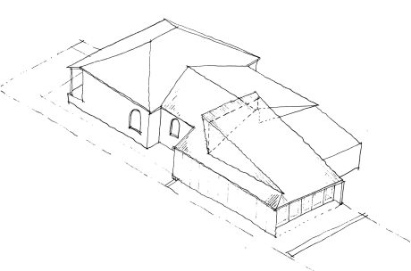 This sketch illustrates how the existing house roof has been continued to the tea of the property, intersected by the sun scoop, which rises from the rear.