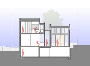 This cross section shows the tall space of the formal living room, the more relaxed scale of the informal living and the circulation spine that separates the two pavilions.