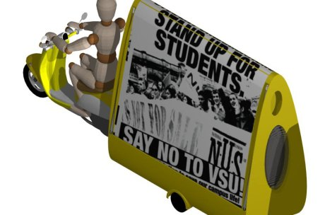 The Protest Activities Dwelling in towing mode behind a motor scooter.