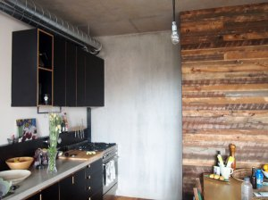The Kitchen with its recycled timber feature wall, concrete benches and form ply joinery.