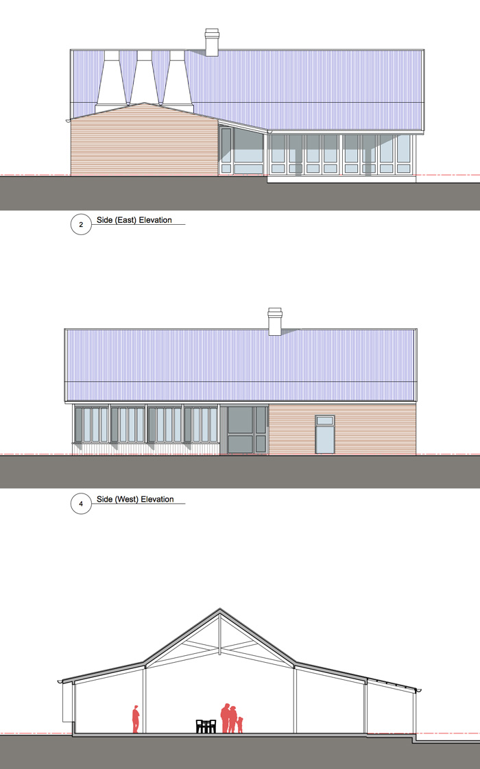 BBQ Restaurant: Preliminary elevations and section
