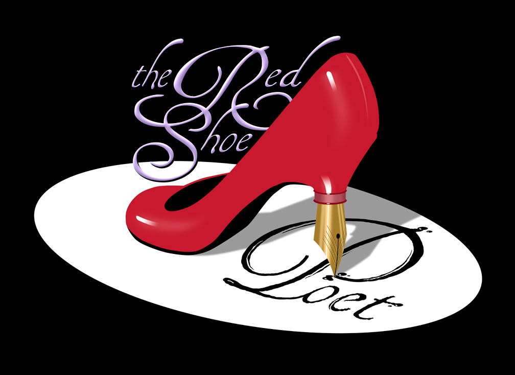 Red shoe Poet Logo on Black