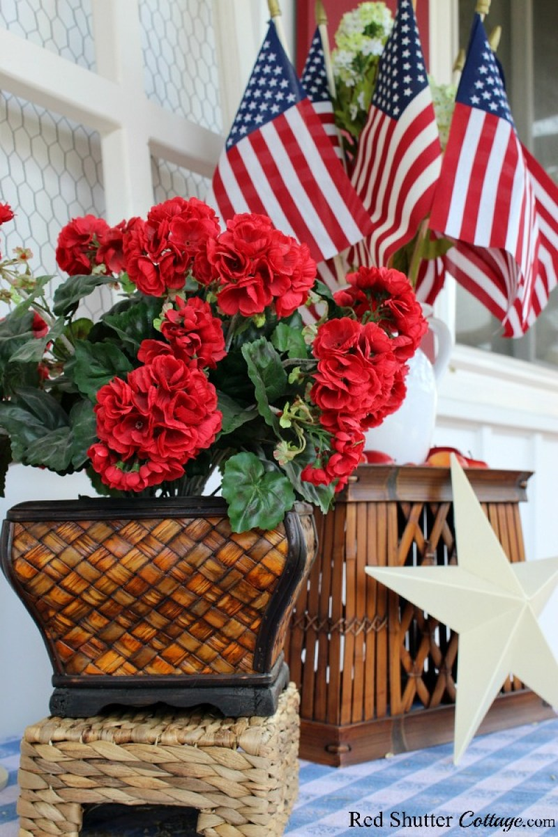 Stars and stripes and summertime geraniums are part of 4th of July On The Front Porch.