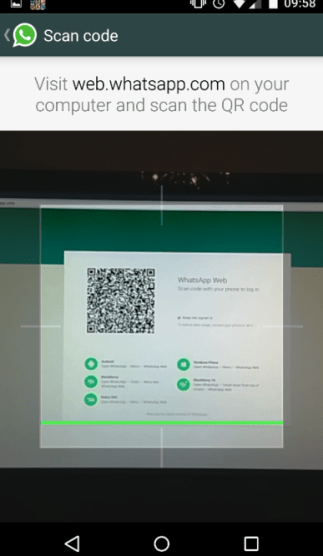Scanning QR code on WhatsApp Web using phone app