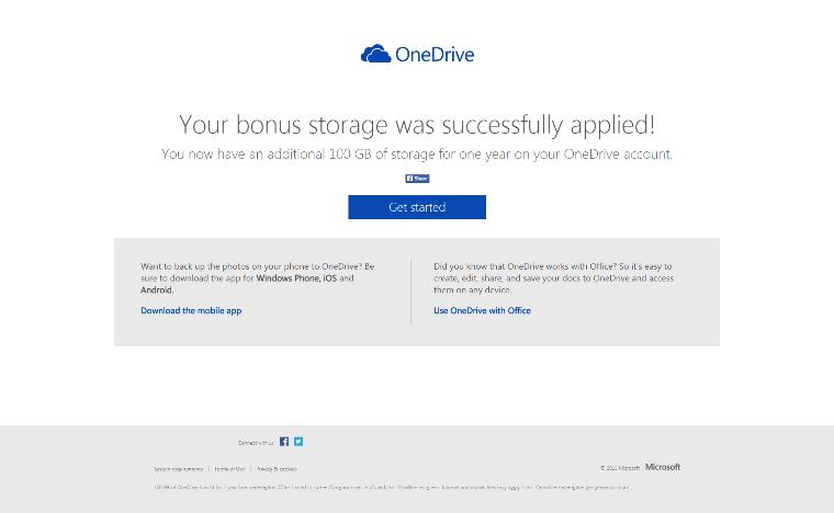 100 GB free OneDrive storage success