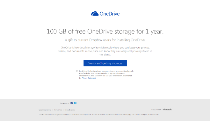 Microsoft OneDrive Free 100 GB storage invitation