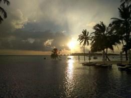 Romantischer geht es kaum: Sonnenuntergang unter Palmen